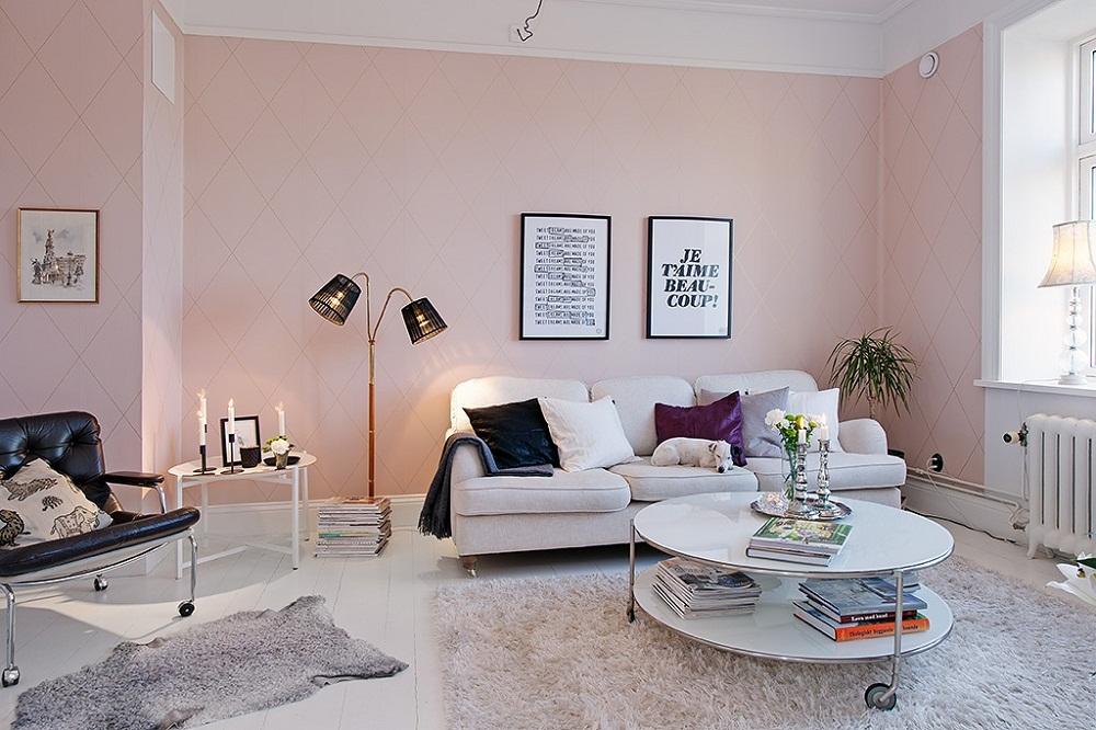 Hồng – sắc màu không thể bỏ lỡ cho không gian phòng khách