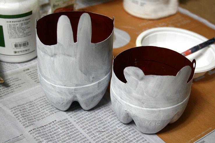 Tái chế vỏ chai nhựa thành chậu cây cảnh mini