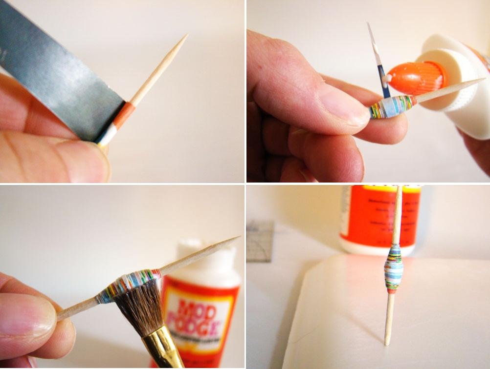 Khuyên tai độc đáo với hạt cườm làm từ giấy