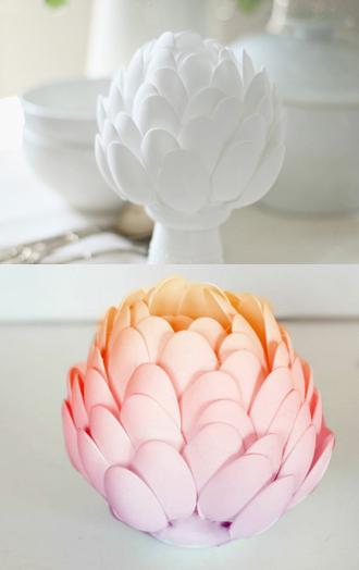 Bình cắm hình hoa Atiso tái chế từ thìa nhựa 5