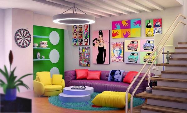 Phong cách trang trí sofa da TPHCM nhấn nhá màu sắc