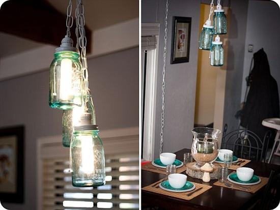 Trang trí nhà đẹp mắt bằng đèn chùm làm từ lọ thủy tinh 2