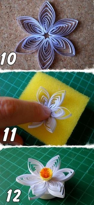 Tự làm thiệp nổi hoa thủy tiên quilling tuyệt đẹp 8