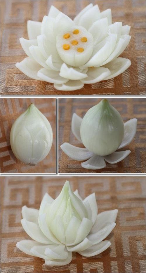 4 cách tỉa hành tây thành hoa thật dễ dàng 3