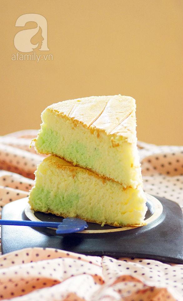 Cách làm bánh chiffon 2 màu không cần khuôn chuyên dụng 1
