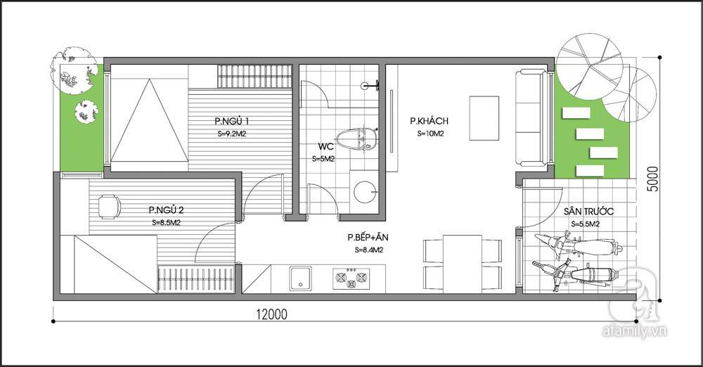 Tư vấn thiết kế nhà cấp 4 rộng 60m² cho cặp vợ chồng 9x 1