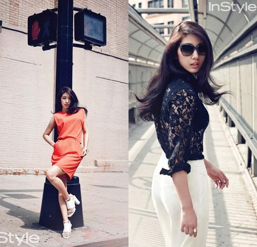 Park Shin Hye diện váy hở lưng trên đường phố Manhattan 3