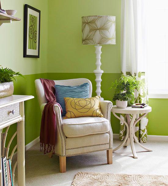 Trang trí phòng ngủ dịu mát, thư thái với gam màu xanh lá cây 3