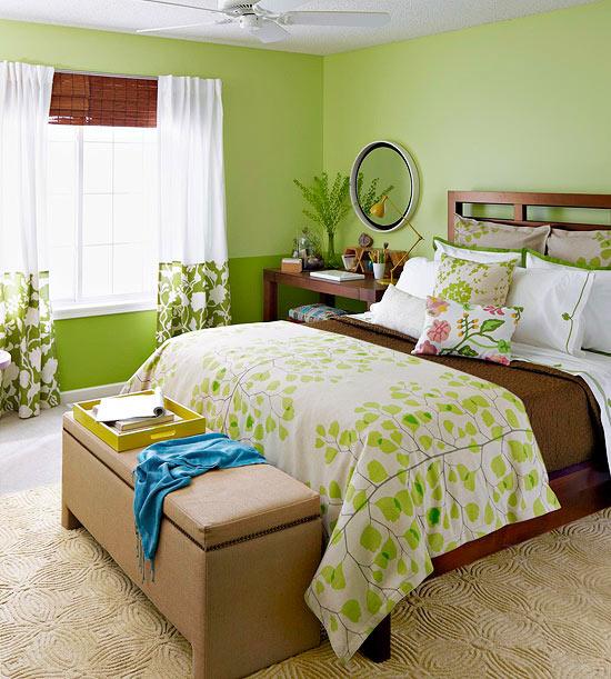 Trang trí phòng ngủ dịu mát, thư thái với gam màu xanh lá cây 1