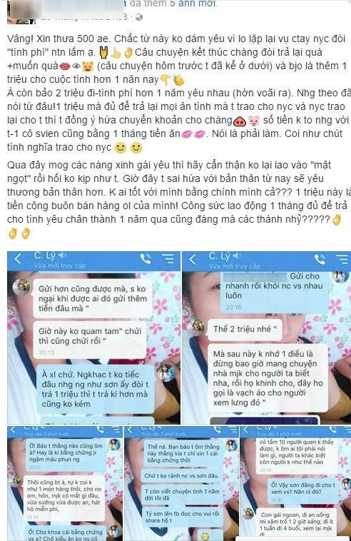 Cô gái công khai tin nhắn vụ bạn trai chia tay đòi tình phí 1 triệu: