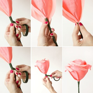 Làm hoa hồng giấy khổng lồ thật ấn tượng 6