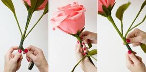 Làm hoa hồng giấy khổng lồ thật ấn tượng 9