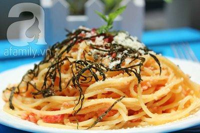 Spaghetti trứng cá cực ngon đổi món cuối tuần 16