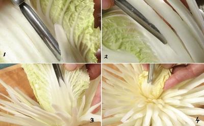 Tỉa hoa cúc từ rau cải thảo thật dễ dàng! 9