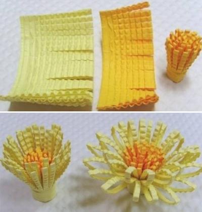 Cách làm hoa cúc giấy vàng rực đượm sắc thu 7