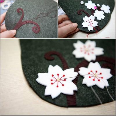 Khéo tay tự may ví cầm tay hoa đào xinh xắn 8