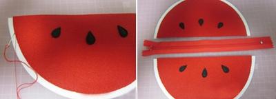 3 bước dễ dàng tự may ví hình miếng dưa hấu 6