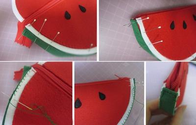 3 bước dễ dàng tự may ví hình miếng dưa hấu 10