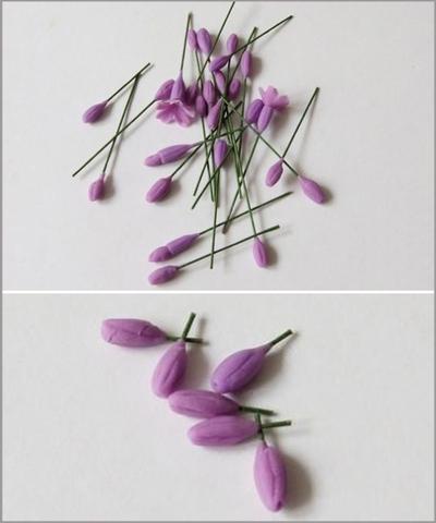 Cách làm hoa oải hương từ đất sét cực đẹp mà đơn giản 9