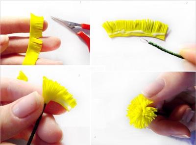 Cách làm hoa bồ công anh từ đất sét siêu xinh 4