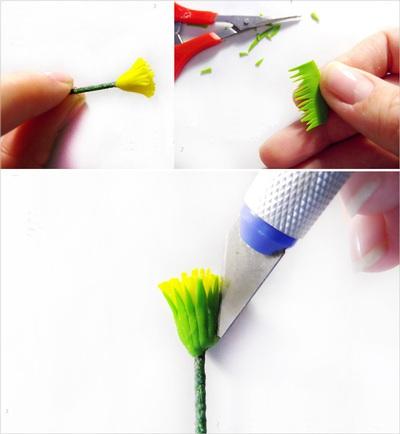 Cách làm hoa bồ công anh từ đất sét siêu xinh 8