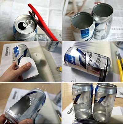 Tái chế vỏ lon bia thành đèn nến lung linh 6