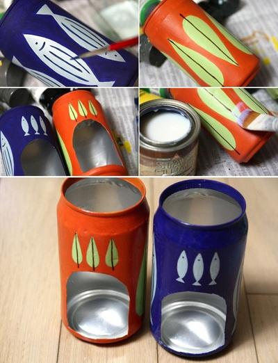 Tái chế vỏ lon bia thành đèn nến lung linh 10
