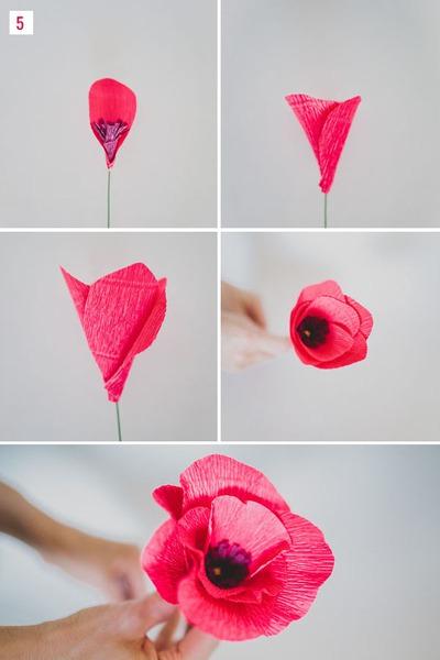 Cách làm hoa giả từ giấy nhún cực đẹp mà dễ 12