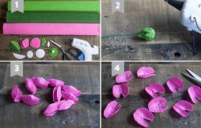 Cắt giấy nhún làm hoa mao lương đẹp như hoa thật 6