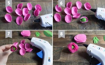 Cắt giấy nhún làm hoa mao lương đẹp như hoa thật 8