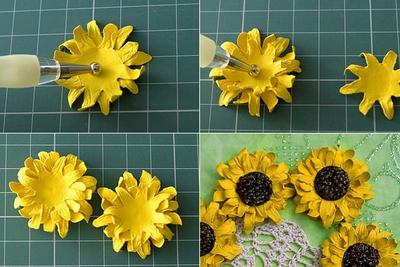 Cách làm hoa hướng dương trang trí thiệp đáng yêu 11