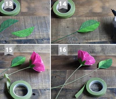 Cắt giấy nhún làm hoa mao lương đẹp như hoa thật 12