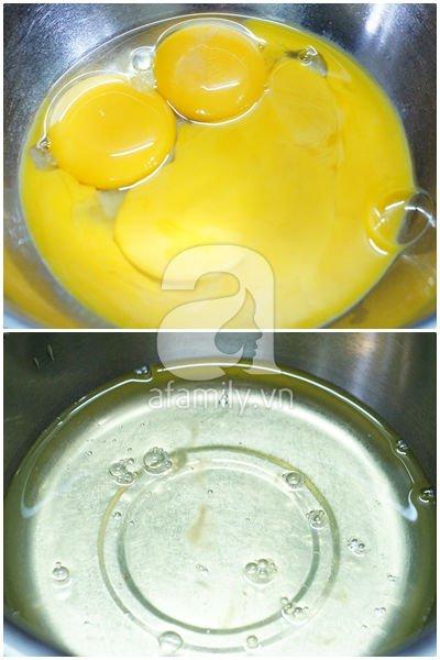 Cách làm bánh chiffon 2 màu không cần khuôn chuyên dụng 5