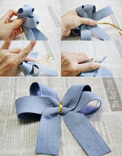 2 cách làm kẹp nơ sắc xanh dịu dàng xinh xắn  7