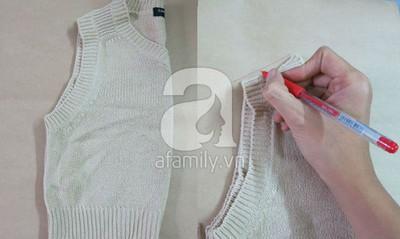 Cách may áo gi-lê cho bé từ mẫu cũ cực dễ dàng 6