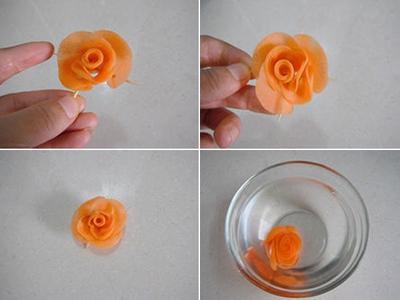 Cắt tỉa cà rốt thành hoa hồng rực rỡ đẹp mắt 11