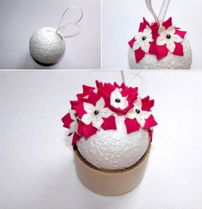 Tự chế quả cầu hoa xinh lung linh đón năm mới 11