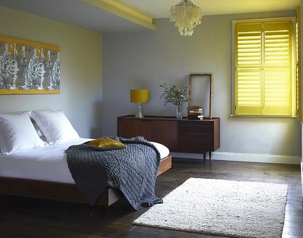 Phòng ngủ với gam màu xám sang trọng và vàng thanh lịch 14