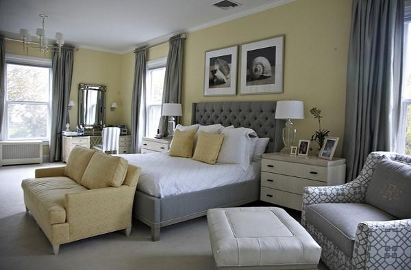 Phòng ngủ với gam màu xám sang trọng và vàng thanh lịch 16