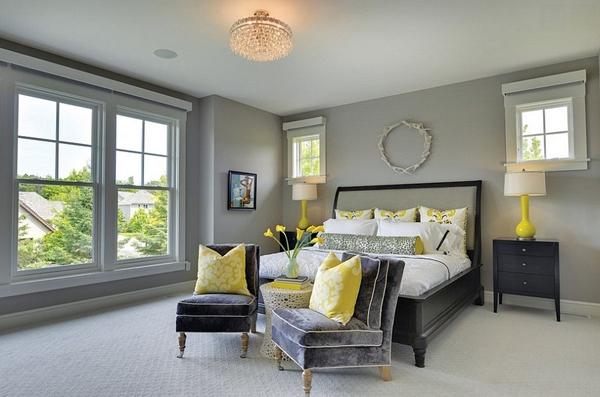 Phòng ngủ với gam màu xám sang trọng và vàng thanh lịch 18
