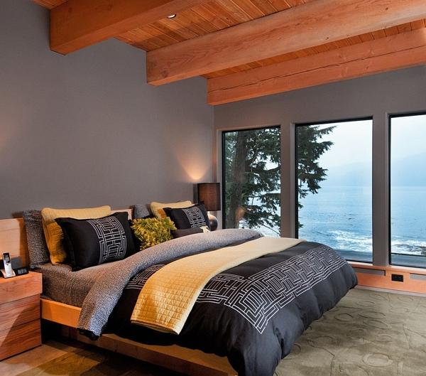 Phòng ngủ với gam màu xám sang trọng và vàng thanh lịch 2
