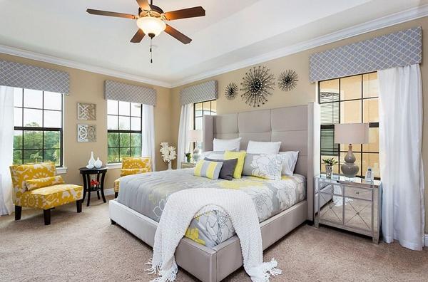 Phòng ngủ với gam màu xám sang trọng và vàng thanh lịch 24