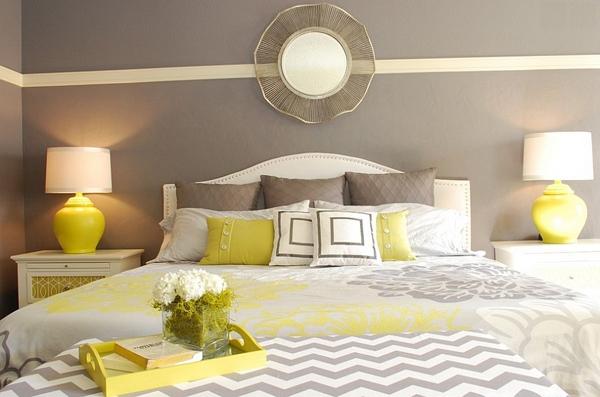 Phòng ngủ với gam màu xám sang trọng và vàng thanh lịch 25