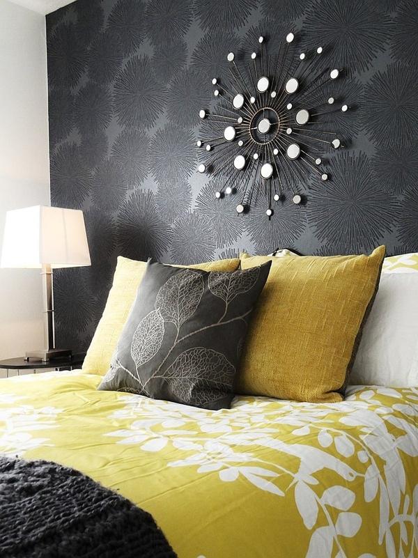 Phòng ngủ với gam màu xám sang trọng và vàng thanh lịch 5