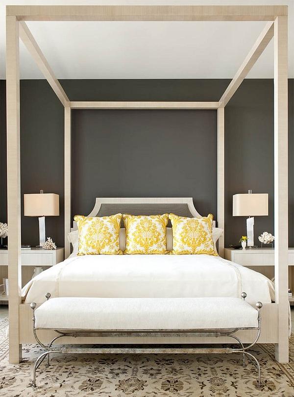 Phòng ngủ với gam màu xám sang trọng và vàng thanh lịch 7