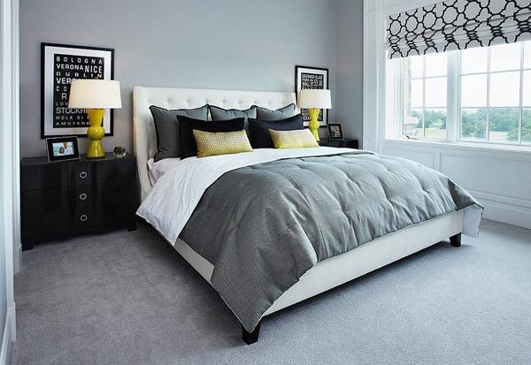 Phòng ngủ với gam màu xám sang trọng và vàng thanh lịch 8
