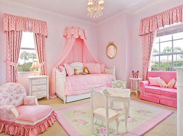 Mẫu phòng ngủ màu hồng đẹp như cổ tích cho bé gái 10