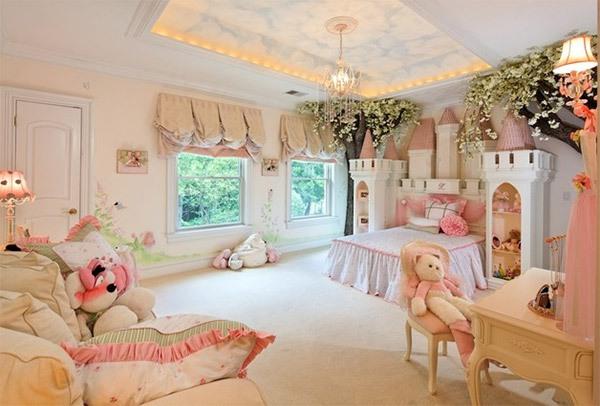 Mẫu phòng ngủ màu hồng đẹp như cổ tích cho bé gái 2