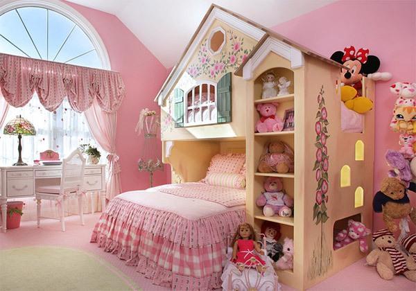 Mẫu phòng ngủ màu hồng đẹp như cổ tích cho bé gái 4