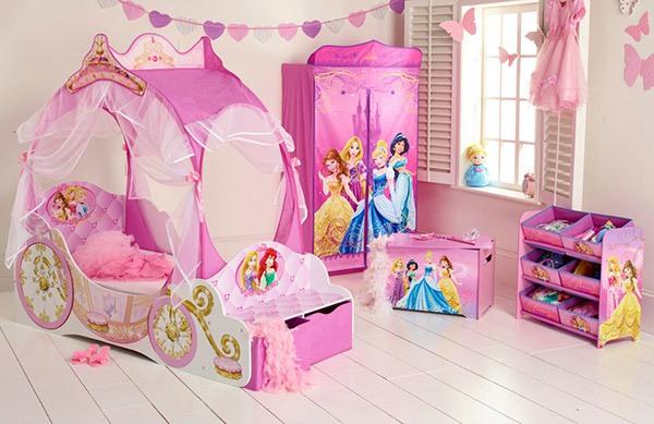 Mẫu phòng ngủ màu hồng đẹp như cổ tích cho bé gái 6